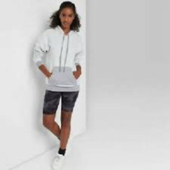 NWT Wild Fable Heather Gray Fleece Hooded Sweatshirt Color Block Soft Size Small